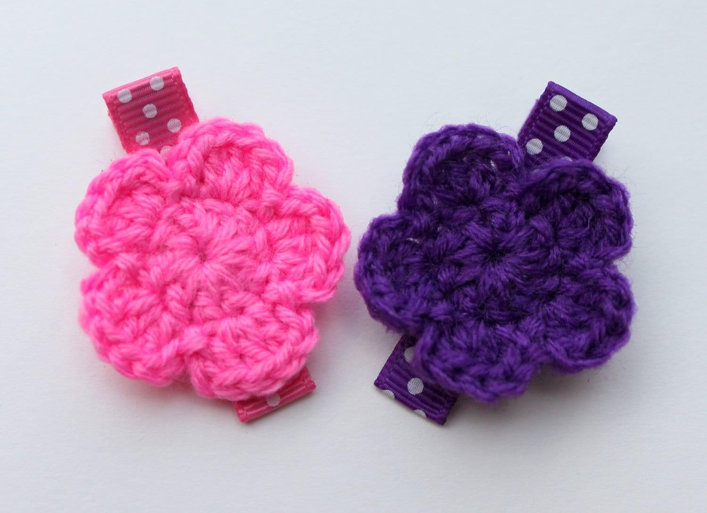 Crochet Hair Flowers : Crochet Flower Hair Clips Purple and Hot Pink by PrincessGraceBow