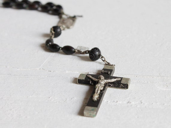 Vintage French Rosary, Black wooden rosary from Lourdes