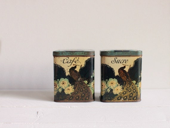 Vintage French kitchen canisters