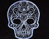 Delicate Lace Skull Iron on Patch