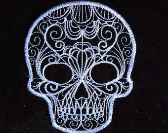 "Delicate Lace Skull Iron on Patch 3.37"" x 4"""