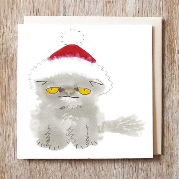 Cat Christmas Card Grey Fluffy Cat In Santa Hat Holiday Pack Of Six