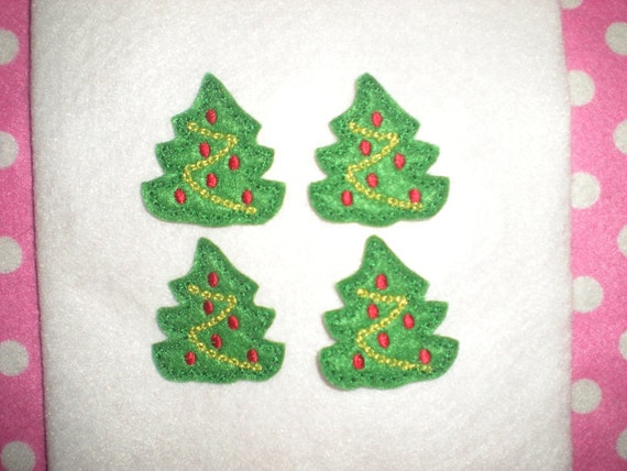Ready to Ship) Machine Embroidered Hand made (4) Felt Christmas Tree Embellishments / appliques