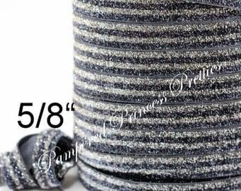 "5yd-Glitter Elastic-SILVER/CHARCOAL Striped-5/8"""