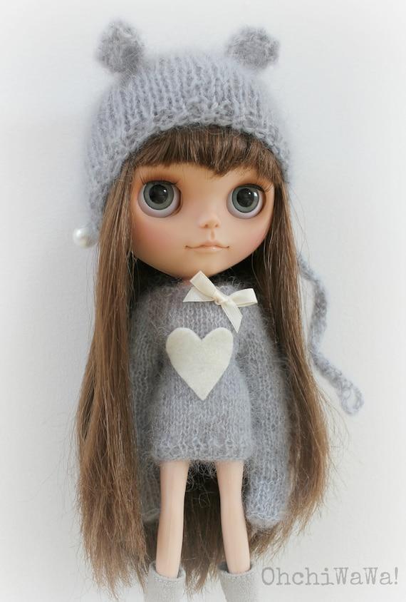 BLYTHE grey kidsilk sweater with heart application