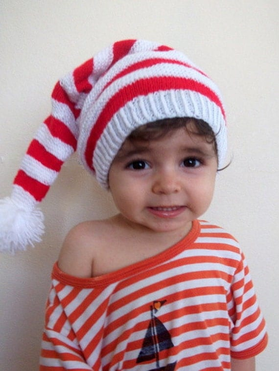 Baby Santa Hat -newborn stocking hat-red and white striped-Christmas Newborn Hat,Photo Prop, Knitting  Baby Hat in Red and White