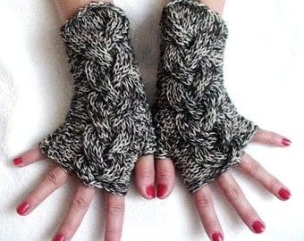 Fingerless Gloves Tweed Cabled  Wrist Warmers in Black and White