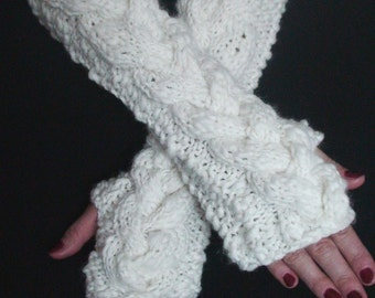 Fingerless Gloves White Extra Chunky Arm Warmers Warm Oversize Comfortable