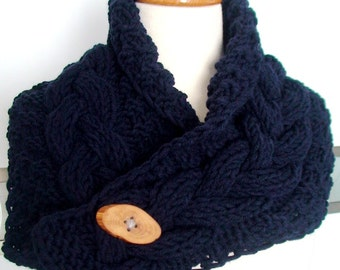 Dark Blue Cowl Neck Warmer Scarf  Handknit Cabled Thick and Soft SALE