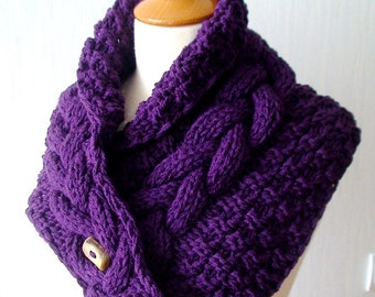 Acrylic Cowl/ Scarf/ Neck Warmer Handknit Purple/ Dark Violet Cabled  with a Wooden Button