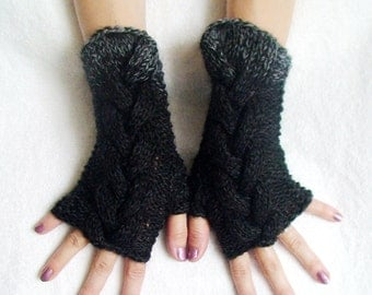 Fingerless Gloves  Cabled  Wrist Warmers in Black and Grey