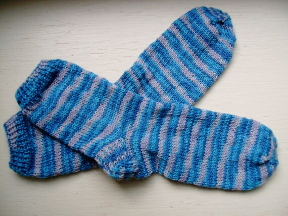 Hand Knit Soft and Warm Women's 100% Merino Wool Socks, Size 8 - 8.5 (9.75 inches length)