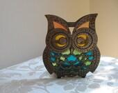 Vintage Owl Napkin Holder Lettter Cast Iron Metal Stained Glass