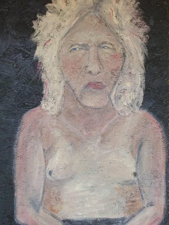Wolf, Homeless Man, Acrylic Painting on Repurposed Wood