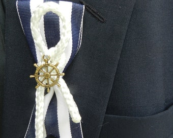 Nautical, Beach themed Groom or Groomsmen Boutonniere