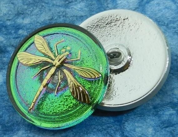 Czech Glass Button Iridescent Green with Gold Dragonfly Purple Highlights