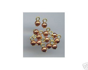 Vintage 4mm Copper Coated Beads on Headpins (50)