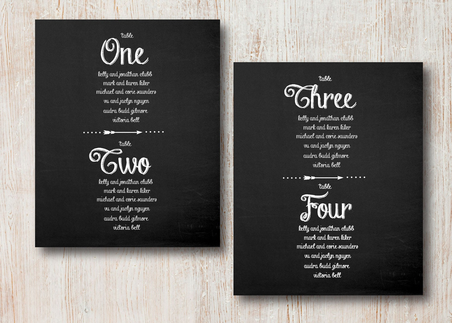 Chalkboard Wedding Table Assignment Cards