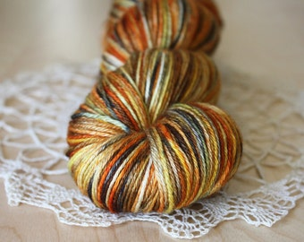 Hand Dyed Yarn / Fingering Weight / Burnt Orange Russet Charcoal Pumpkin Silk Merino Wool / DYED on order