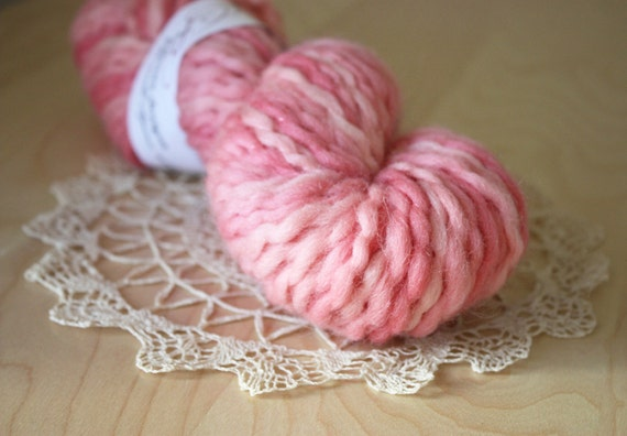 Hand Dyed Yarn / Super Bulky / Cherry Blossom Pink Blush / Semisolid Wool