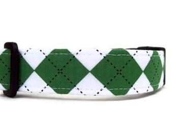 Kelly Green Argyle Dog Collar