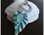 Seafoam Green Beach Glass on a Patina Leaf Pendant Necklace