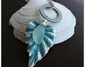 Seafoam Green Beach Glass on a Patina Leaf Pendant Necklace
