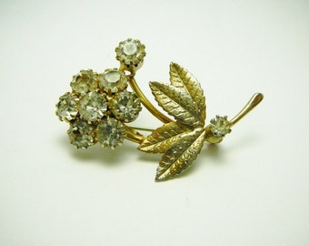 Vintage Clear Rhinestone Flower Brooch Pin Goldtone