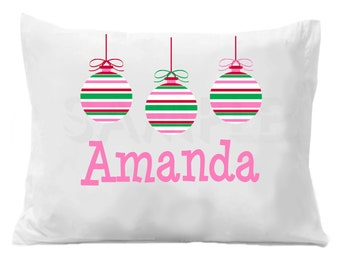 Ornament Christmas Personalized Pillow Case , Christmas Ornaments Pillow Case Boys or Girls