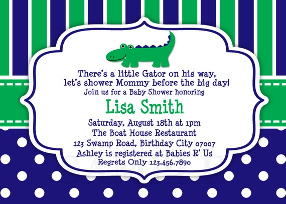 blue and green alligator baby shower invitation preppy,