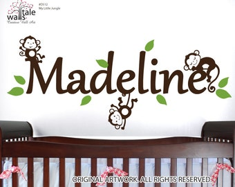 Jungle Wall Decal  with name and 3 monkey wall decals for boys and girls nursery.