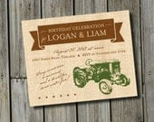 DIY Printable Vintage Tractor Birthday Invitation DIGITAL FILE