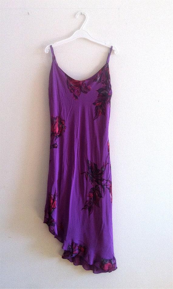 Sale- 90'S BETSEY JOHNSON Dress w/ asymmetrical hem- Sz. Large, Purple, Floral