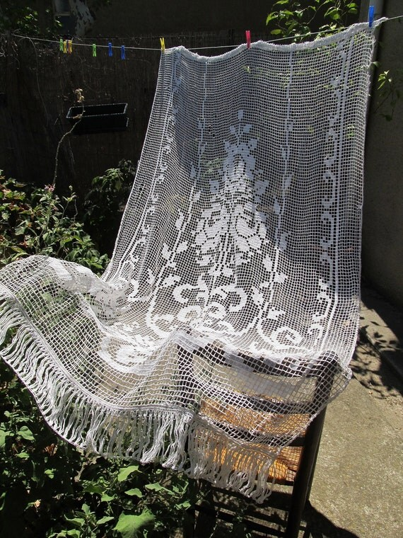 Hand Crocheted Vintage French Curtain Lace Door Curtain