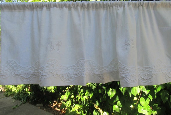 french vintage white curtain valance with lace