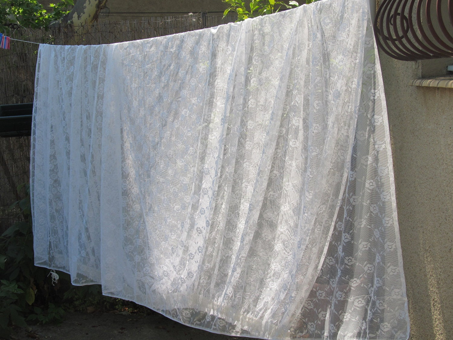 large vintage curtain white lace curtain french curtain