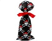 Reusable Cloth Wine Bottle Bag in Pirate Fabric