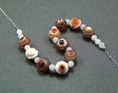 Tibetan Eye Agate Sterling Silver Necklace - N582