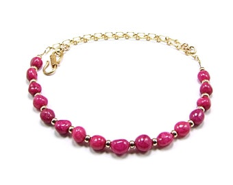 Luscious Pink Ruby Nugget 14k Gold filled Necklace - N178