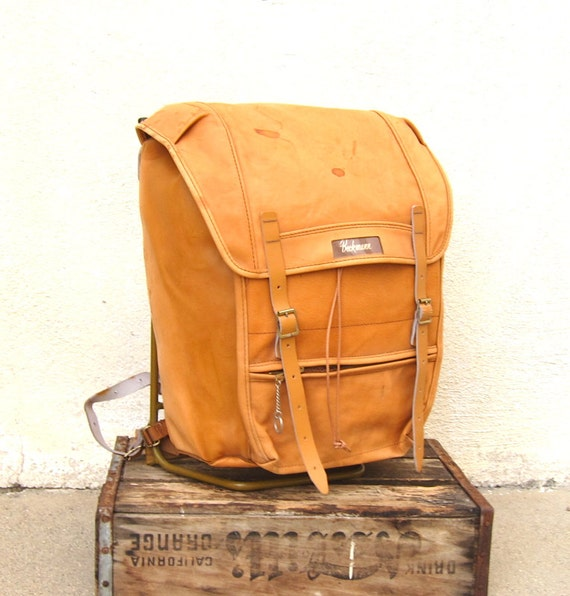 RESERVED for Alan Vintage Beckmann Norway Large Tan Leather Military Style Metal Frame Rucksack Backpack