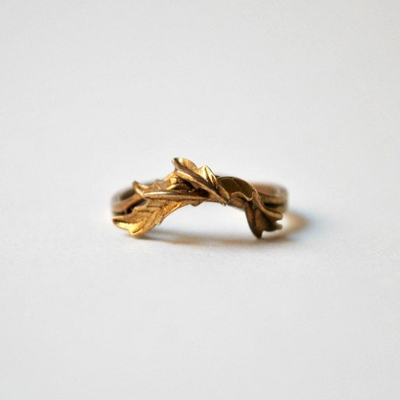 Special listing for Erin: Vintage Bronze Ring - Autumn Leaves