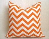 SALE - Decorative Chevron Pillow - Orange - Cream - 16 inch - Zig Zag Pillow - Toss Pillow - Accent Pillow - Throw Pillow - Designer Pillow