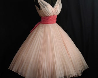 Vintage 1950's 50s Bombshell Fred Perlberg Shell Pink Ruched Chiffon Organza Circle Skirt Party Prom Wedding DRESS Gown