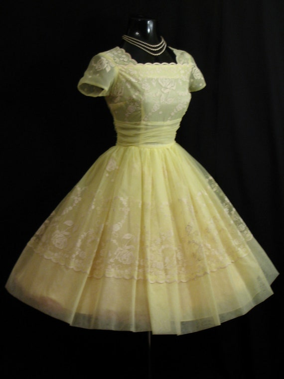Vintage 1950's 50s Cupcake Lemon Yellow Flocked Floral Chiffon Organza Party Prom Wedding Dress