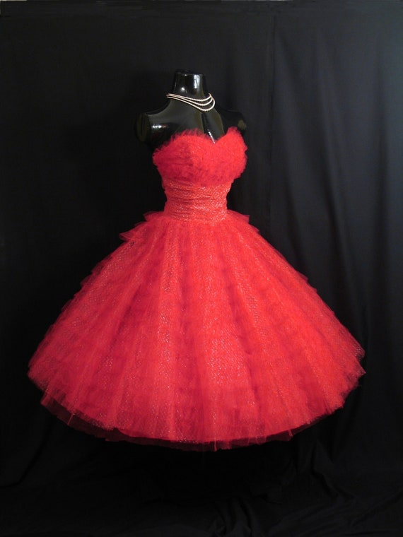 Vintage 1950's 50s Bombshell STRAPLESS RED Metallic Tulle  Party Prom Wedding DRESS Gown