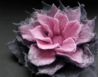 Pink and Steel Gray Felt Flower Pin Brooch, Felted Flower, Gray Flower