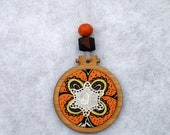 Monogram Christmas ornament gift, with vintage embroidery, wood, fabric, beads, gift for her, J, any letter available