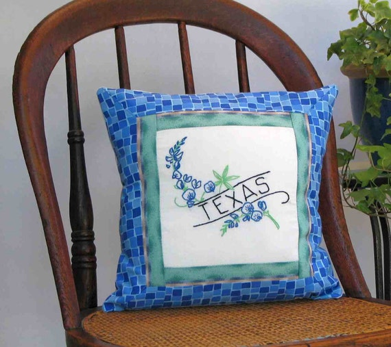 Texas flower pillow,  vintage embroidery, bluebonnet, cabin, cottage, farmhouse decor--a keepsake gift. Includes pillow form.