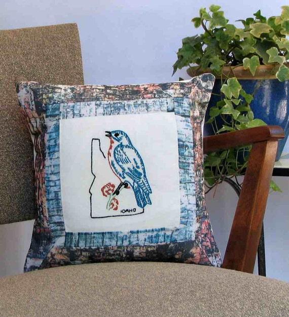 Idaho bluebird pillow, vintage embroidery, cabin, cottage, farmhouse, dorm decor -- a keepsake gift. Includes pillow form.