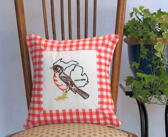 Michigan bird pillow, cabin, farmhouse, cottage decor with vintage hand-embroidered quilt block -- a keepsake gift. Includes pillow form.
